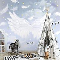 写真の壁紙北欧手描きのファンタジー羽の翼星空壁画子供部屋インテリア背景壁3D壁紙, 400cm×280cm