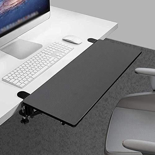 Desk Extender Tray Clamp On Ergonomics Keyboard Tray Keyboard Drawer Table Mount Slide-Out Platform Elbow Arm Support (Black)
