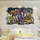 HUNSHA Pegatinas de pared de Transformers Optimus Prime Bumblebee Autobots rotos Autobots Pared Pegatinas Dormitorio Sala Niños