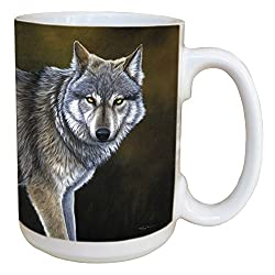 Classic Wolf Coffee Mug - Large 15-Ounce Ceramic Cup, Full Handle - Jeremy Paul Wolves Theme - Gift for Animal Lovers - Tree-Free Greetings 45736