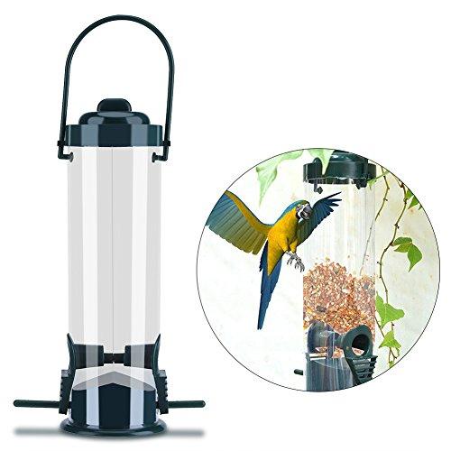 Haokaini Outdoor-vogelhuisje, kunststofbuis-pindakfeeder, vogel-feeder, buitengordijnen, spatfeeder, zonnebloemenfeeder