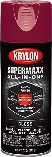 Krylon K08953000 SUPERMAXX All-In-One Spray Paint, Gloss Burgundy, 12 Ounce