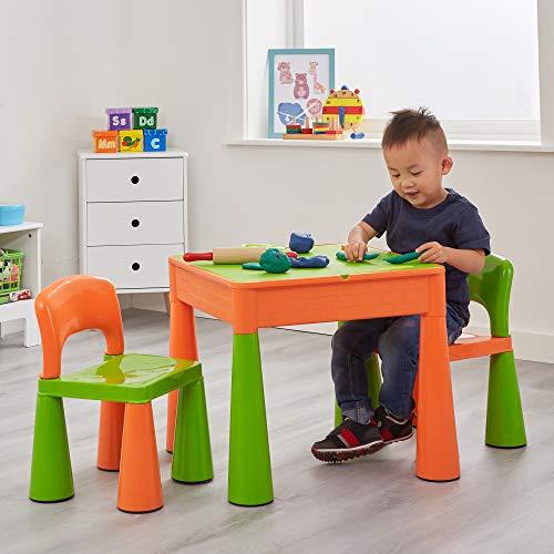 Liberty House - Tavolo multiuso per bambini con 2 sedie, colore: Verde/Arancione