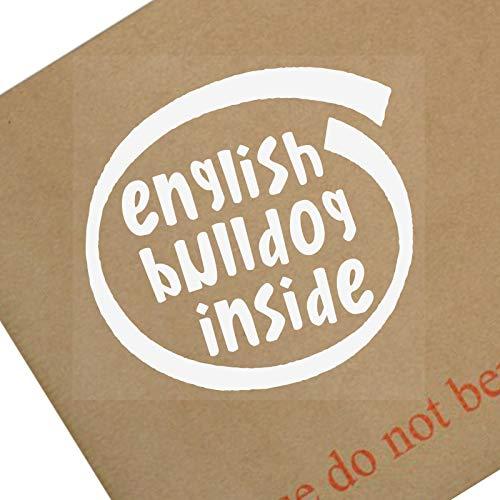 Platina plaats 1 x Engels Bulldog Inside-Window,Auto, Van,Sticker,Teken, Lijm, Hond, Huisdier, On,Bord, Frans,Guard,Bescherming,Waarschuwing,Beveiliging,Lood,Bark,Dak,Puppy, Speelgoed