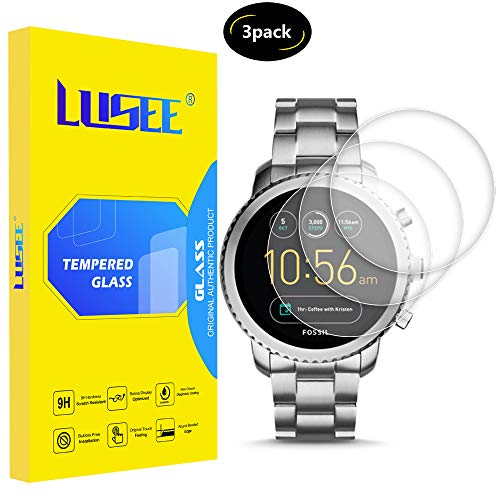Lusee 3 Pezzi Universale Vetro Temperato per Smart Watch/Smartwatch Diametro 32mm Pellicola Protettiva [Durezza a 9H] [Chiaro HD] 2.5D Anti Graffio/Anti Impronta per Schermo