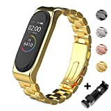 Mijobs Correas de Mi Band 3 Mi Band 4 Correa Bracelet, Metal Acero Inoxidable Agradable de Pulsera Wrist Strap Replacement Band para Mi Band 4 Mi Band 3 (No Host) (Metal Gold)