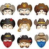 Blulu Western Party Dekoration Lieferungen Western Masken Western Cowboy Masken Halloween Masken für Western Party Kostüme Photo Prop Ankleiden, 10 Stile