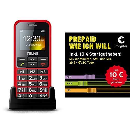 Emporia TELME C151 (Extragroße beleuchtete Großtastenhandy) Rot & congstar Prepaid wie ich will - Dein Wunschmix in bester D-Netz-Qualität inkl. 10 EUR Startguthaben