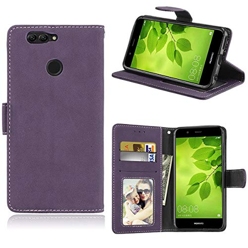 Sangrl Lederhülle Schutzhülle Für Huawei Nova 2 Plus, PU-Leder Klassisches Design Wallet Handyhülle, Mit Halterungsfunktion Kartenfächer Flip Hülle Lila