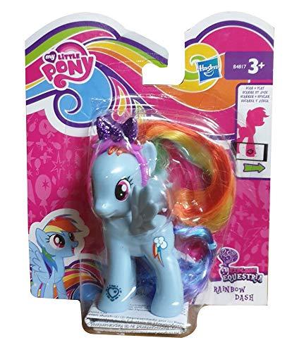 MLP My Little Pony Explore Equestria Figur zum frisieren, mit Kamm oder glitzerndem Haarreif, Code am Fuß für die APP, Spielfigur für Mädchen (Rainbow Dash)