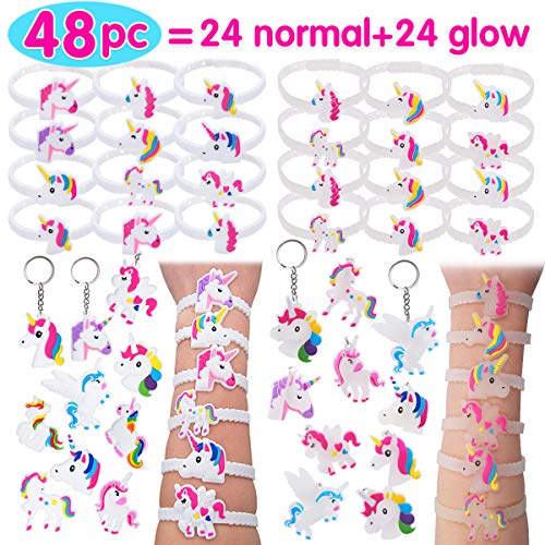 Pawliss 48pc Unicorn Bracelets Keychains, 24 Normal + 24 Glow-in-The-Dark Wristbands, Birthday Party Favors Supplies for Kids Girls, Prizes Gifts, Rubber 48 pcs