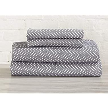 Great Bay Home Extra Soft Heather Jersey Knit (T-Shirt) Cotton Sheet Set. Soft, Comfortable, Cozy All-Season Bed Sheets. Carmen Collection By Brand. (Queen, Chevron Grey)