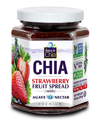Premium Fruit Spread by World of Chia - All Natural, Plant Based, Gluten Free, Omega 3, Kosher, Made in USA, NON GMO Verified, Organic Ingredients, Low Glycemic, Diabetic Friendly - Strawberry, 3 pack