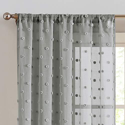 Sheer Curtains Pompom Grey Voile Pom pom Window Curtains for Bedroom Girls Room Nursery Kids Teenage Room Rod Pocket 2 Panels 84 inch Long Curtain Set