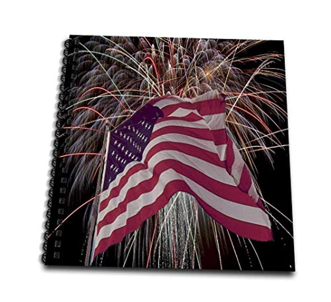 3dRose db_14246_2 Fireworks and American Flag-Memory Book, 12 by 12-Inch