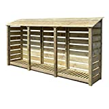 Rutland County Garden Furniture Empingham 6ft Tall Log Store/Garden Storage Heavy Duty Pressure Treated Timber With Forward Sloping Roof