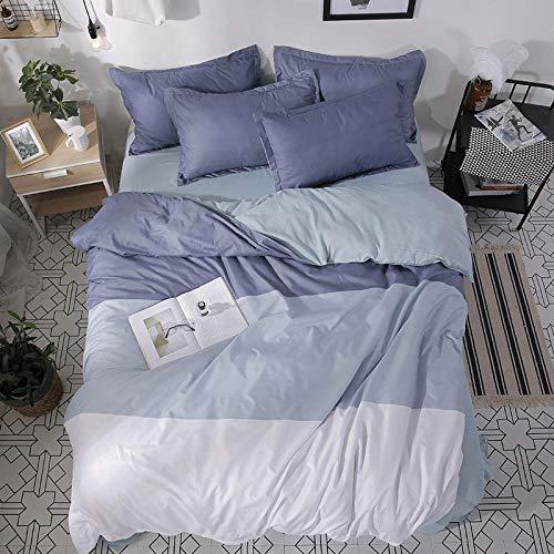 Rhmvvseso® Tröster setzt Decke, 3D Einfache Bunte Streifen Bettwäsche, Ganzjahres-Steppbettdecke für Kinder, Jungen, Mädchen, Teenager, Kinder - Enthält 1 Bettdecke, 2 Kissen Weicher Bettbezug