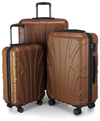 Suitline 3er Koffer-Set Trolley-Set Rollkoffer Hartschalen-Koffer Reisekoffer, TSA, (55 cm, 66 cm, 76 cm), 100% ABS, Matt, Cappuccino Braun