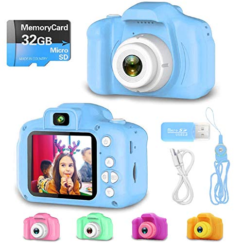 YOHE Upgrade Kids Camera,Best Birthday Gifts Toys for Boys,Shockproof Rechargeable HD 1080P Digital Video Cameras with 32GB SD Card,Educational Toys for 1 2 3 4 5 6 7 8 9 Year Old Toddlers (Blue)
