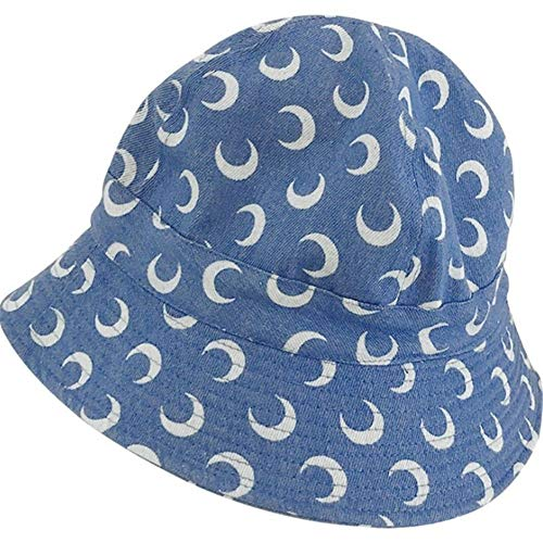 BGTJN Gorros de Pescador Hip Hombres Mujeres Flat Top Poco voluminoso Sombrero del Cubo Vintage Denim Luna Creciente Impreso Hop Cap Pescador de Protección Solar Harajuku Sombrero