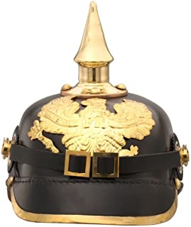 Benzara HGM013 German Pickelhaube Officer Imperial Prussian Helmet, Black/Gold