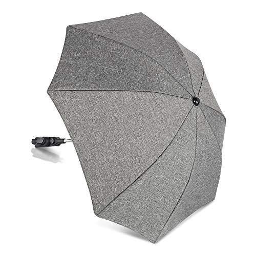 Winload Sonnenschirm Buggy, Universal Sonnenschirm kinderwagen, UV Schutz 50+ Sonnenschutz, für Rund- und Ovalrohre, 73 cm Durchmesser, Babywagen Schirm mit Gerader Schirmgriff - Grau