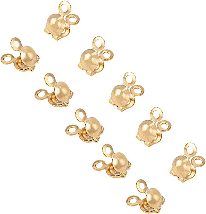 14k gold filled crimp bead tip knot cover with 2 rings clamshell GF20