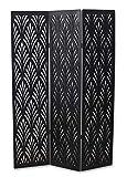 Pegane - Biombo vegetal de madera, compuesto de 3 paneles, color negro, 170 x 120 cm