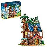 Super Bricks Haus Klemmbausteine Set, Mittelalterliche Baumhaus Bausatz mit Beleuchtungssets Kompatibel mit Lego - 2450 Teile
