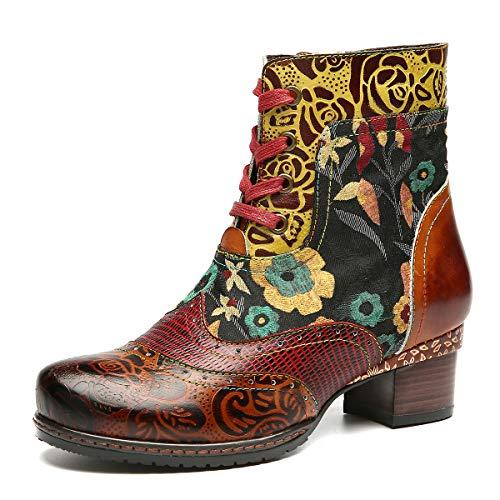 Gracosy Bottes Cuir Femmes, Chaussures Ville Plates...