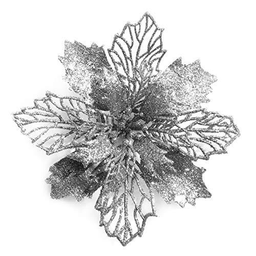 GL-Turelifes - Confezione da 12 stelle di Natale artificiali, glitterate, decorazione per ghirlanda natalizia e albero di Natale, diametro 16 cm, con 12 aghi verdi flessibili