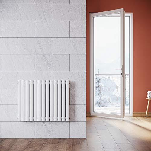 ELEGANT Design Paneelheizkörper Röhren 600x767mm Weiß Doppellagig Badezimmer/Wohnraum Horizontal Heizkörper Seitenanschluss Badheizkörper Radiator