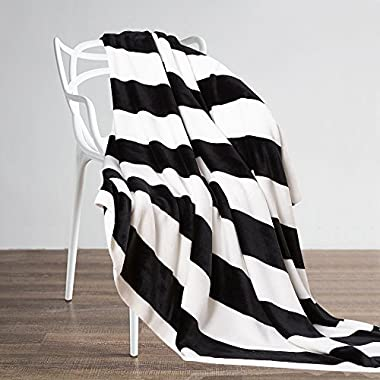 NTBAY Flannel Throw Blankets Super Soft with Black and White Stripe (51 x 68 )