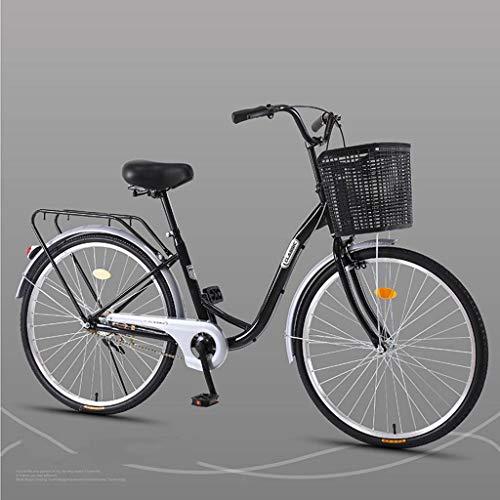 Bove Leicht Und Stabil Citybike Single-Speed Damenrad Scheibenbremsen Stoßdämpfer Unisex Fahrrad-H-24inch