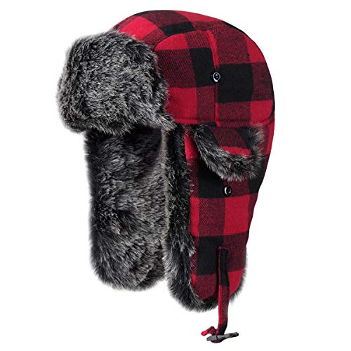 Onway Aviator Winter Hats for Men Bomber Hat with Faux Fur Ear Flaps, Red Black Plaid Trapper Hat