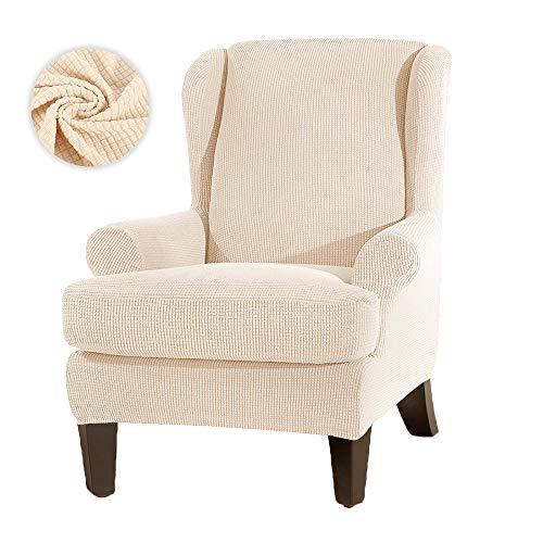 JTWEB Ohrensessel Bezug Ohrensessel Schonbezug Jacquard Elastische Sesselbezug Sessel-Überwürfe Sesselhusse Elastisch Stretch Husse für Ohrensessel (Beige)