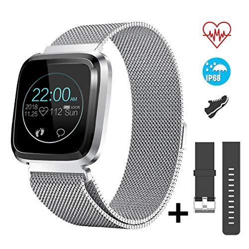 CatShin Fitness Tracker con Cardiofrequenzimetro Contapassi Notifiche Chiamate,CS08 Impermeabile IP68 Smartwatch,Orologio Fitness Braccialetto Activity Tracker per Uomo Donna per Android IOS (argento)