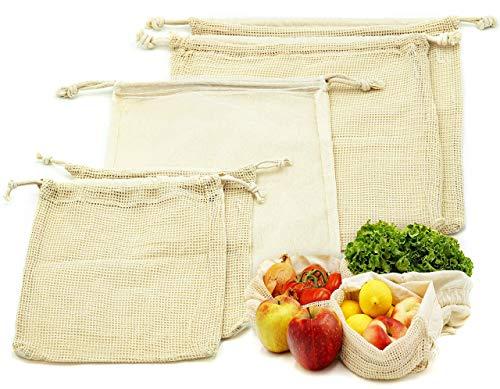 Montfort Obst und Gemüsebeutel 5er SET | wiederverwendbarer Einkaufsbeutel | doppelten Kordelzug | Größe 2xS, 1xM, 2xL