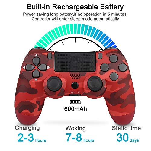Controller Wireless per PS4, Bluetooth Gamepad Joystick con 6 Assi Dual Shock per Playstation 4/PS4 Slim/PS4 Pro (Rosso mimetico)