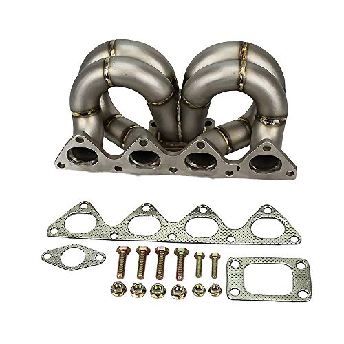 Rev9(HP-MF-B16-T3-11G-38) T3 Turbo Manifold, T304 Stainless Steel, 38 mm Wastegate Flange, Top Mount Style, compatible with Honda B16/B18 Motor Engine