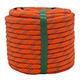 YUZENET Braided Polyester Rigging Rope (3/8 in X 100 ft) Strong Pulling Rope for Arborist Sailing Camping Swings, Orange/Blue