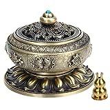 Kitchnexus - Bruciatore per incenso con portaincenso, stile tibetano, motivo fiore di loto, in lega di rame, per bastoncini e coni di incenso Bronze