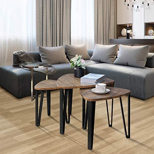 Best Kealive Nesting Coffee Tables Sets of 3 Living Room Industrial Stacking End Side Tables Modern for B