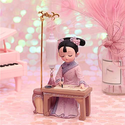 Hong Yi Fei-Shop Decoraciones Adornos de Marionetas Pequeños Regalos con características Chinas de Vestuario muñecas Estatua Draw bajo la lámpara Decoración de Escritorio