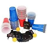 Colmanda Jeux à Boire, 60 Beer Pong Cup + 6 Balles + 54 Cartes, Beer Pong Gobelets Beer Pong Set Beer Pong Tasses Bleues Gobelet Réutilisable Rouges pour Jeu de Beer Pong Bières Fêtes