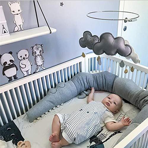 lulalula Tour de lit pour bébé de 185 cm en forme de crocodile, décoration de lit, cadeau pour nouveau-né, coussin pour enfants, tour de lit pour garçons et filles (gris)