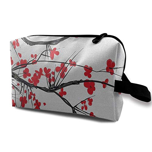 XCNGG Bolsas de maquillaje para mujeres y niñas, bolsa de cosméticos de moda, bonita bolsa de aseo de viaje, Sakura Blossom Japanese