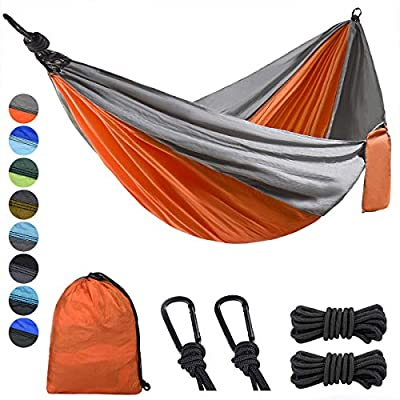 Lifeleads Camping Hammock-Nylon Single Portable Parachute Lightweight for Outdoor or Indoor Backpacking Travel Hiking?Orange & Gray Single?