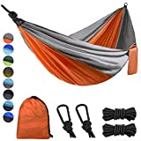 Lifeleads Camping Hammock-Nylon Double Portable Parachute Lightweight for Outdoor or Indoor Backpacking Travel Hiking (Orange & Gray Double