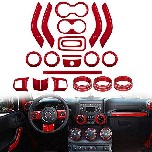 Opall 21PCS Interior Decoration Trim Kit Steering Wheel & Center Console Air Outlet Trim, Door Handle Cover Inner For Jeep Wrangler JK JKU 2011-2018 2 Door &4 Door (RED)